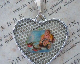Fiona & The Fig -  Antique Victorian Die Cut Scrap - Cupid on Chariot - Charm - Necklace - Pendant - Jewelry