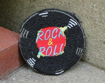 Vintage Retro ROCK & ROLL 50s Oldies Vinyl 45 Record Beadwork Beaded Round Change Coin Purse