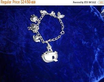 25% Off Noah's Ark Bracelet , Noah's ark charms, charm bracelet, silver tone