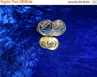 25% Off 1971 Sarah Coventry Roman Coin Scarf Clip, Vintage Scarf Clip, Scarf Jewelry