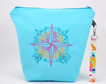 Compass | embroidered project bag | knitting bag | crochet bag | zipper bag