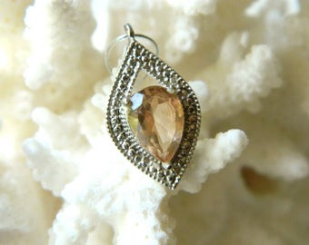 SALE--Glorious AAA Oregon Sunstone pink schiller faceted platinum on brass briolette pendant 20mm x 12mm