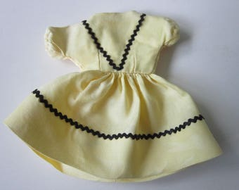 "Doll Dress 8 - 10"" Tall Yellow Cotton Black Rick Rack Trim Vintage 1950's Very Good Clean Condition"