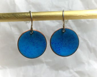 Simple french blue circles- hand made enamel earrings