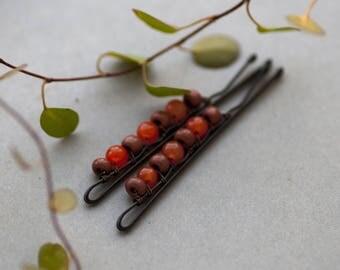 Orange Autumn Bobby Pins, Bohemian Hair Accessory, Cute Girly Hair Pins - set of 2