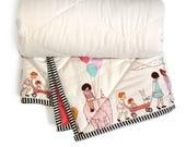 Baby quilt, girl crib blanket, coral baby blanket, crib baby blanket, nursery bedding, gift for newborn, baby blanket girl, crib bedding