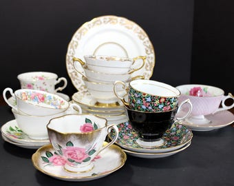 Job Lot of 10 Tea Cups & Saucers - Tea Party Teacups - Assorted China w/Defects