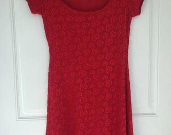 Women's vintage 90's red heart short sleeve A-line mini dress by All That Jazz size small