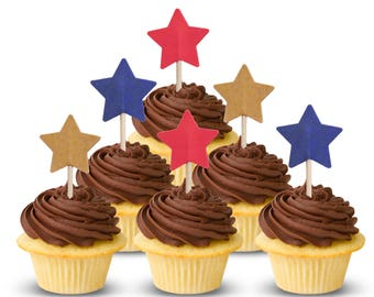 4th of July Cupcake Toppers, Stars Cupcake Toppers, Independence Day Party Decorations - No806