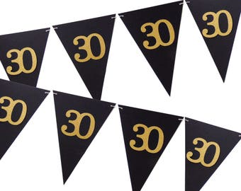30th Birthday Banner, Black and Gold Party Decor, 6ft Photography Prop, Pennant Banner, Triangle Flag Bunting Banner