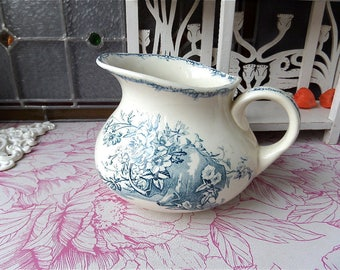 Antique Ironstone Faience Pitcher Water Jug  LUNEVILLE France