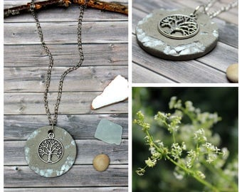 Concrete necklace with natural stones and tree of life
