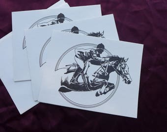 Vintage 1985 Horse Race / Jumping / Equestrian Greeting Cards