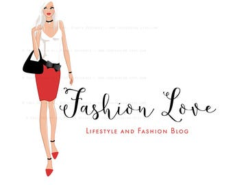 FASHION LOVE Character Illustrated Premade Logo design- Fashion and Lifestyle Blog- Fashion BLOGGER