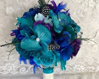 Peacock Wedding Bouquet Feather Accessory Bridal Flowers Teal