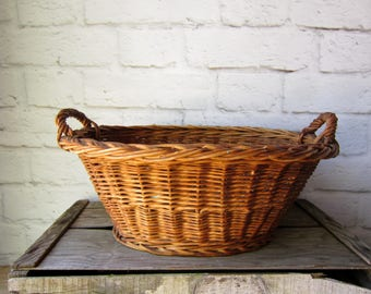 French Country Laundry Basket Rustic Handled Basket