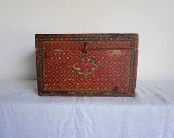 Painted Red Wooden Box Classical Painting Manuscript Box from India