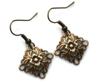 Antique Brass Flowers in Diamonds . Earrings