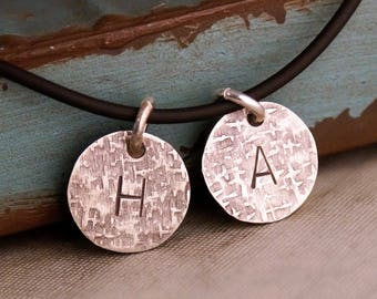 Daddy Necklace with kids initials / Rustic Sterling Silver Tags /  Antique Sterling Silver Initials Tag / Father's Day / Gift for Daddy