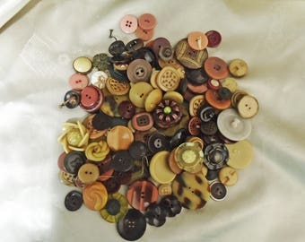 Fun Vintage Buttons, Neutral Colors, Celluloid, Vegetable Ivory Buttons, Lucite, Flower Buttons, Brown, Beige, Cream Color, 11 Ounces
