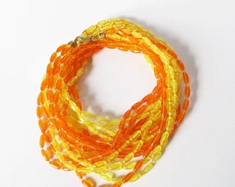 On Sale Extra Long Orange and Yellow Flapper Necklace Vintage Plastic Beaded Necklace Boho Summer Jewelry