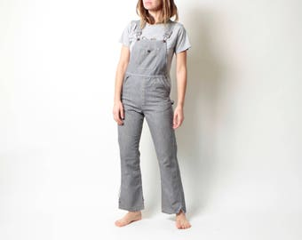 90s BLACK & white extra small overall OXFORD overalls distressed pinstriped coveralls