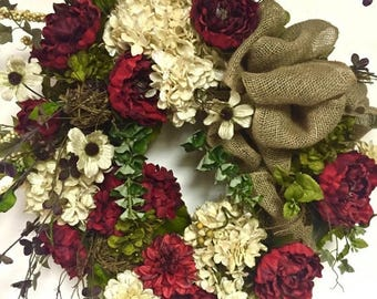 "CHRISTMAS IN JULY Elegant Silk Floral Spring Fall All Season Wreath  Peony Hydrangea Garden Variety Xl 27""x36"" Red Ivory & Sage Green Indoor"