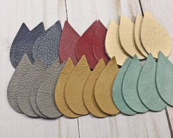 Teardrop Shaped Leather Pieces, Small Leather Shapes for Earrings and Jewelry, 24 Pieces in 6 Colors, Leather Cut Out Shapes
