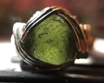 Moldavite Space-Rock Ring, sz. 8 - Gemmy green Czech tektite in hand-wrapped .925 sterling silver