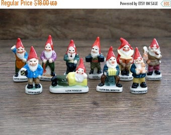French Feves Porcelain Glazed- Garden Dwarfs, gnomes, fairy tale - Figurines King Cake Baby Doll House Miniatures Mini