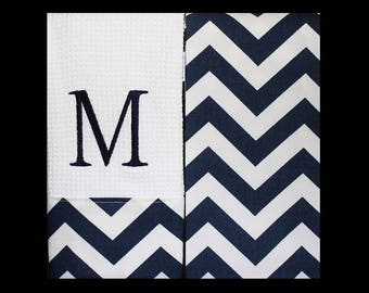 Monogrammed  Kitchen Towels or Hand Towels  in Navy Chevron | Housewarming Gift | Hostess Gift | Gifts for Her | Wedding