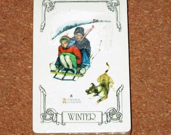 Vintage NORMAN ROCKWELL WINTER Deck Playing Cards Norman Rockwell Unopened