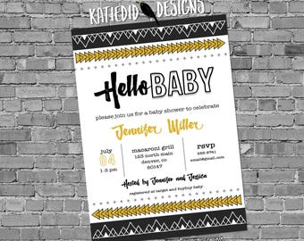 tribal baby shower invitation BOHO bridal shower wedding aztec gender neutral gender reveal 1482 black yellow gray arrows diaper couples