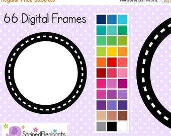 40% OFF SALE Dash Circle Frames - Clip Art Frames - Instant Download - Commercial Use
