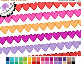 40% OFF SALE Heart Digital Ribbons 2 - Border Clipart - Instant Download - Commercial Use
