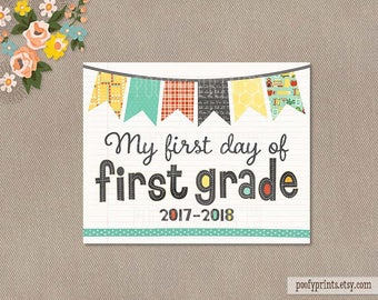 First Day of 1st Grade Notebook Printable Sign - 8 x 10 Printable First Day of Elementary School Sign - INSTANT DOWNLOAD - 503
