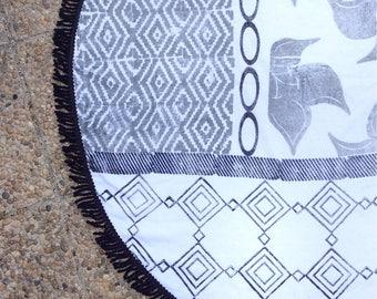 round beach towel, Giulia Grey roundie  - artisan made - high quality