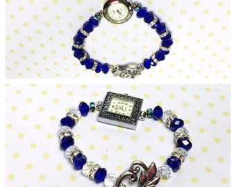 Beaded Watch/Bracelet Blue sapphire Crystals, Beads, clear  Rhinestones Spacers, Item No L110