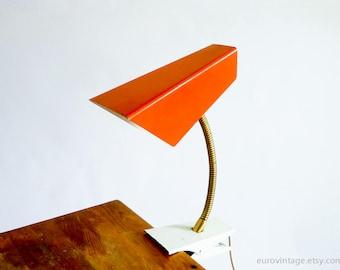 Vintage Small Gooseneck Clamp Lamp Burnt Orange 70s 80s