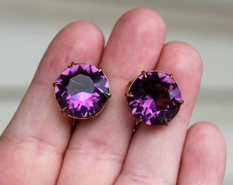 Vintage Czech Purple Rhinestone Screw Back Earrings Art Deco Era Open Back