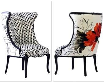 """Black & White Upholstered """"Flora"""" Chair"""