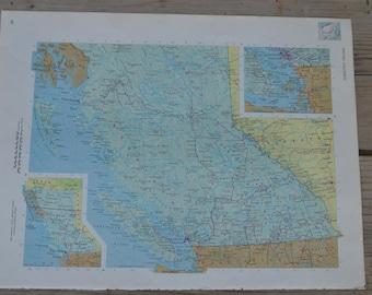 British Columbia Vancouver Canada Vintage Map Print