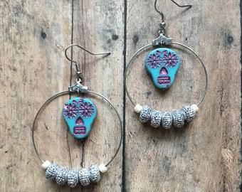 Blue and pink sugar skull earrings
