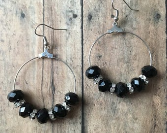 Black and crystal beaded dangle earrings