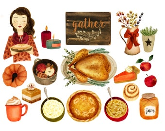 Fall clipart, thanksgiving clipart, fall watercolor clipart, pumpkin clipart