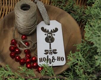 Reindeer - HoHoHo - Christmas - Tag - Ornament - for Rustic, Farmhouse, Boho, Primitive Styles