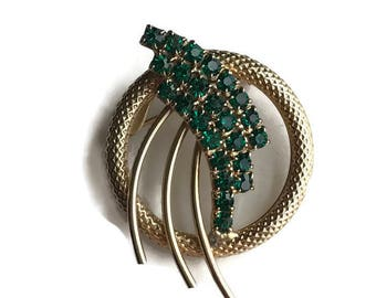 Vintage Emerald Rhinestone Gold Tone Brooch