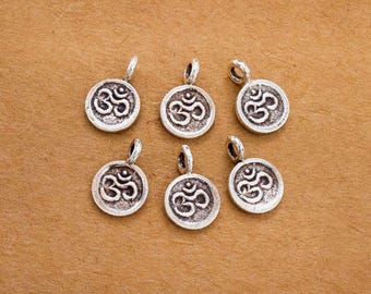 6 of Karen Hill Tribe Silver Ohm Charms 8 mm. :ka2841