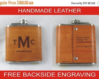ON SALE Set of 8 Personalized Flask, Groomsman Flask, Groomsmen Gifts, Leather Flask, Handmade Leather Flask with FREE Backside Engraving!