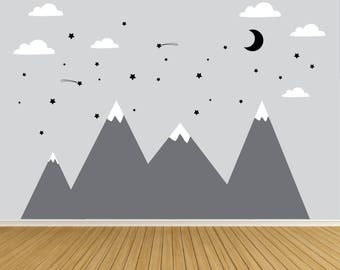Reusable Wall Decals-Mountain with Stars- Wall Decal-Kids Wall Decals-Nursery Wall Decals-Moon and Stars Wall Decals-Boys Room Decals